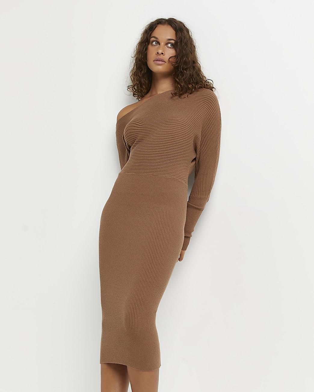 Brown off the shoulder midi dress