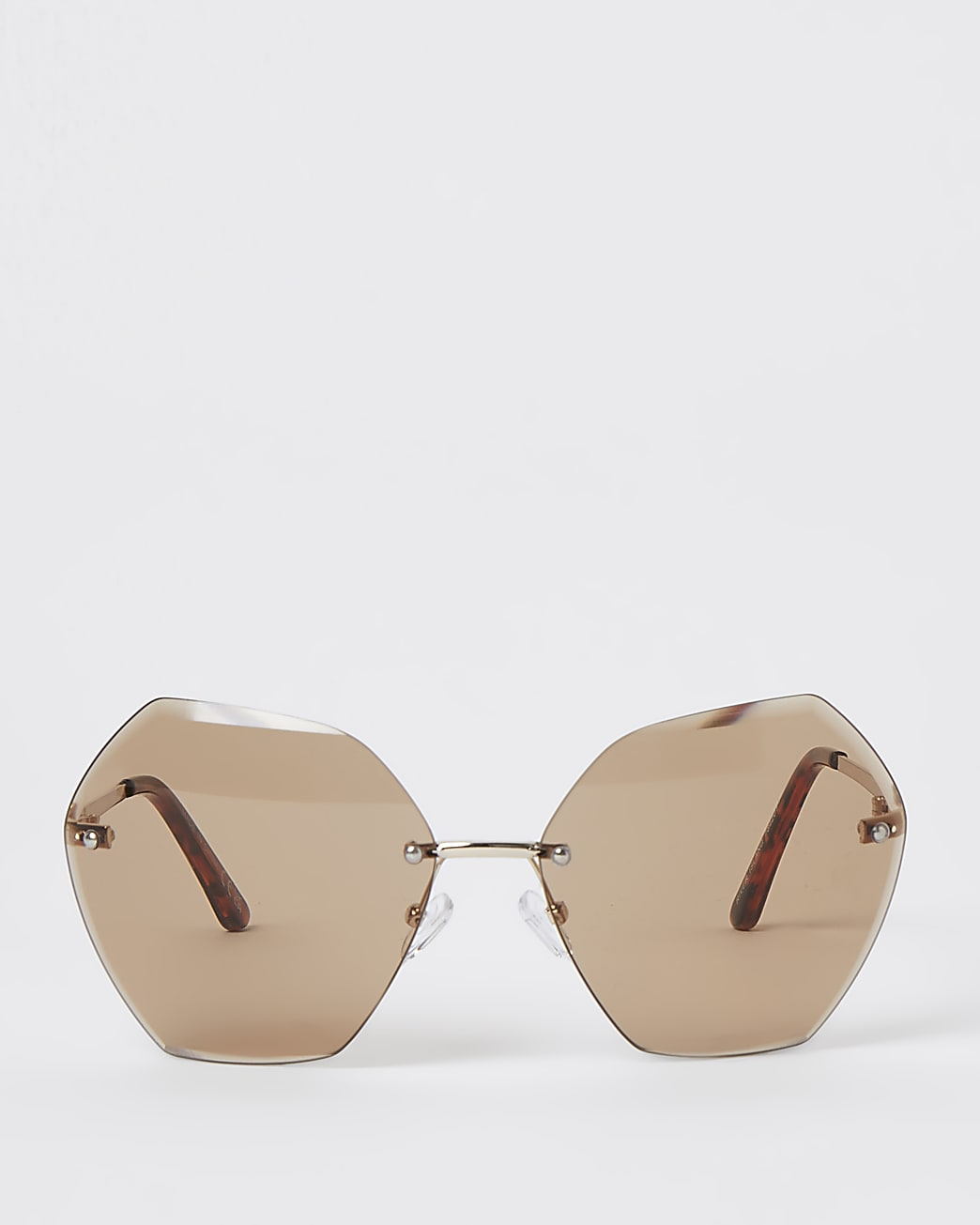 Brown oversized bevelled rimless sunglasses