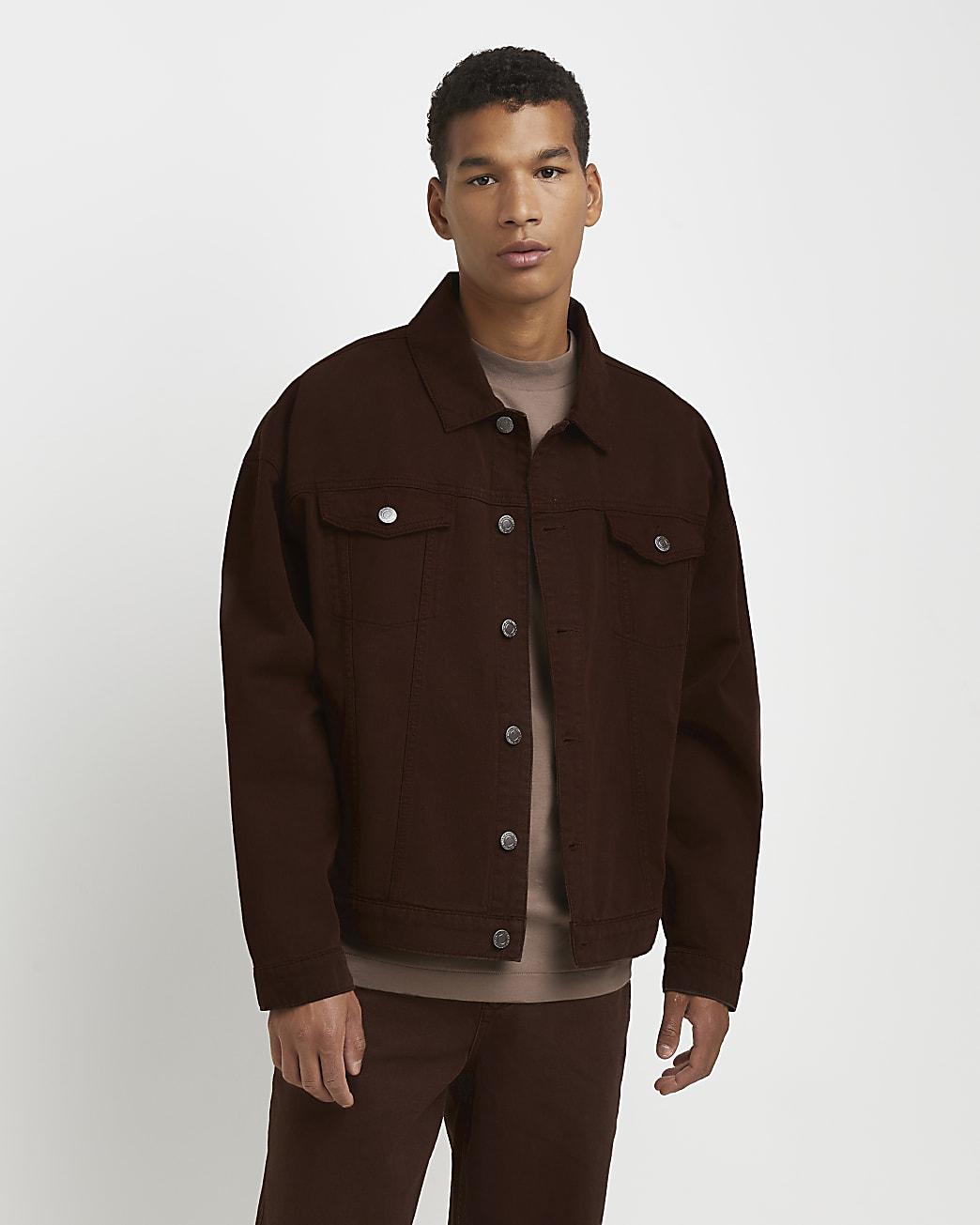 Brown oversized fit denim jacket
