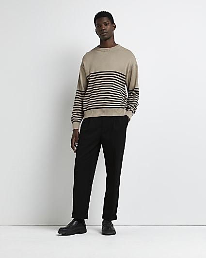 Brown oversized fit stripe jumper