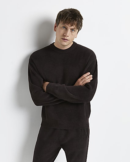 Brown oversized fit towelling jumper
