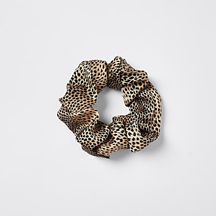Brown Oversized Leopard Scrunchie