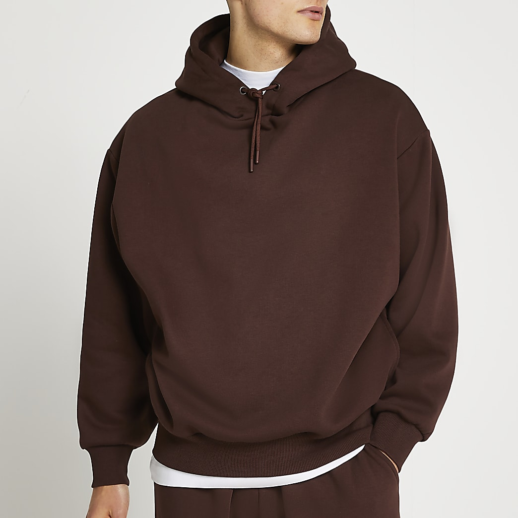 Brown oversized long sleeve hoodie