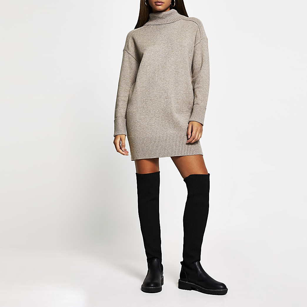 Brown oversized long sleeve jumper dress