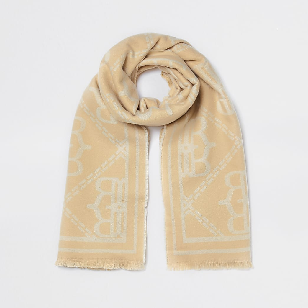 Brown oversized RI monogram scarf