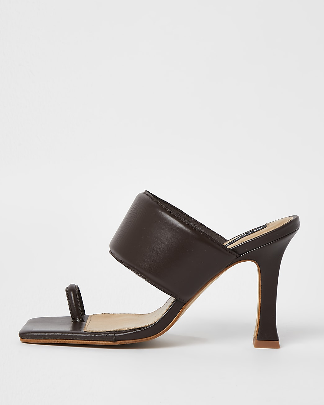 Brown padded heeled mules