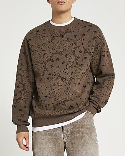 Brown paisley print sweatshirt