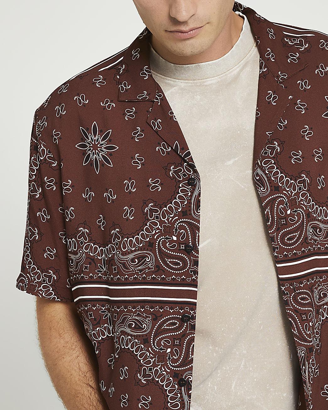 Brown paisley regular fit revere shirt