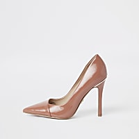 Brown patent wrap around court shoes