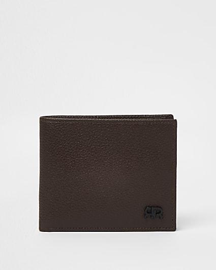 Brown pebbled RR bifold wallet