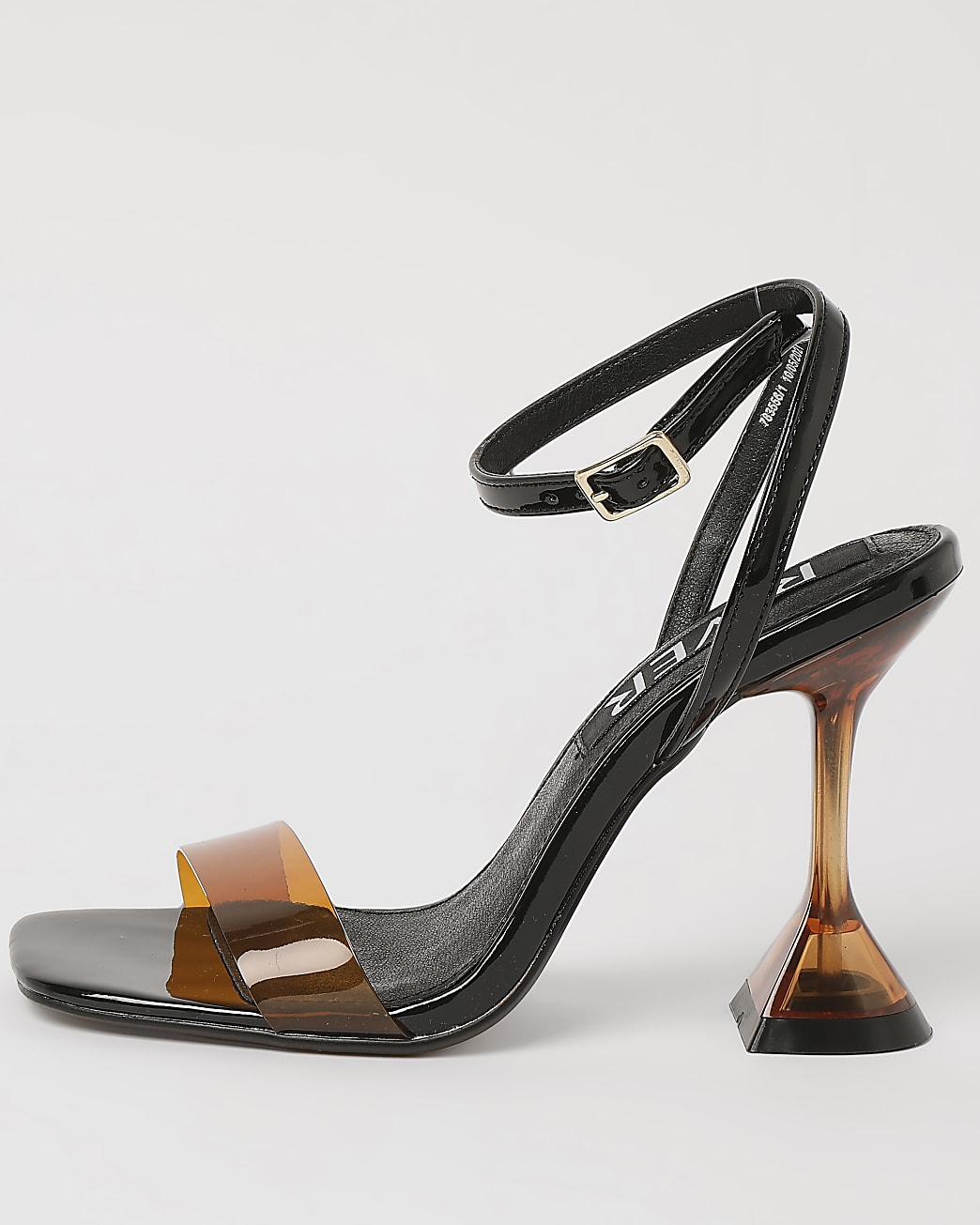 Brown perspex heeled mules