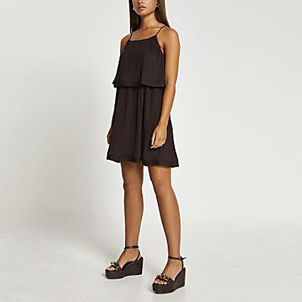 Brown pleat layered mini dress