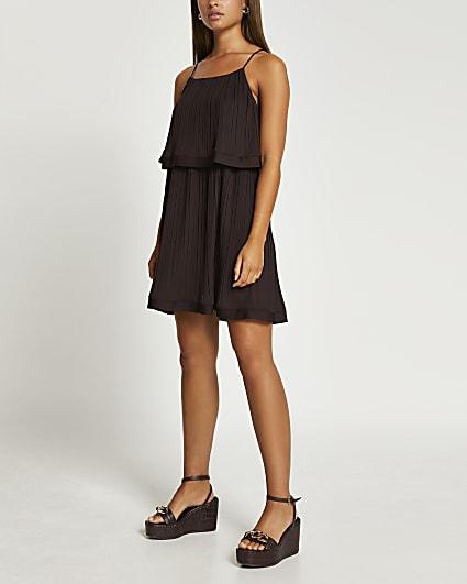Brown pleated mini dress