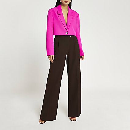 Brown pleated wide leg trousers