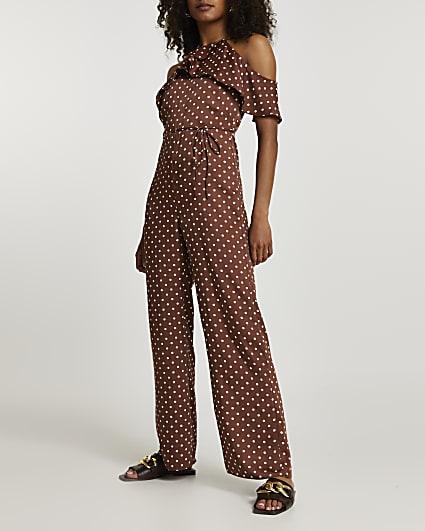 Brown polka dot cold shoulder jumpsuit