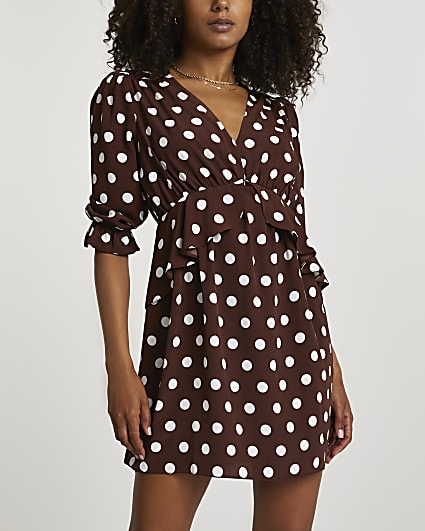 Brown polka dot mini dress