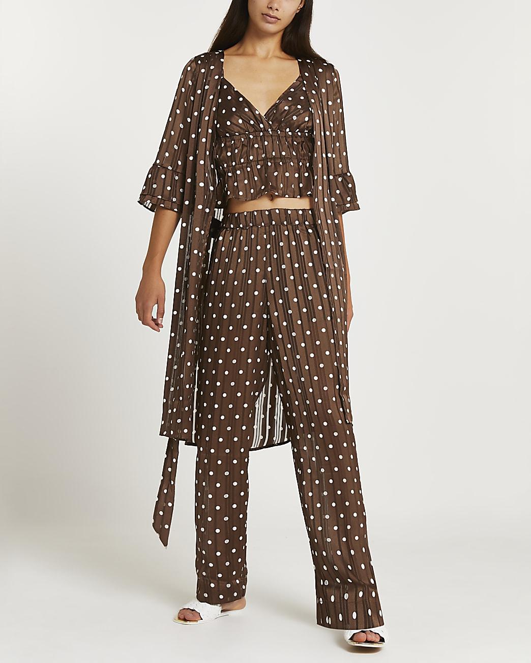 Brown polka dot satin kimono