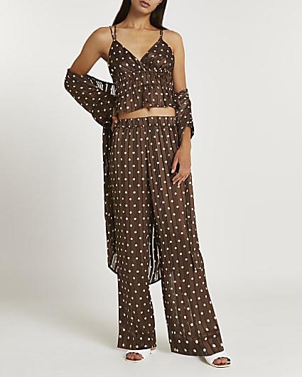Brown polka dot satin pyjama set