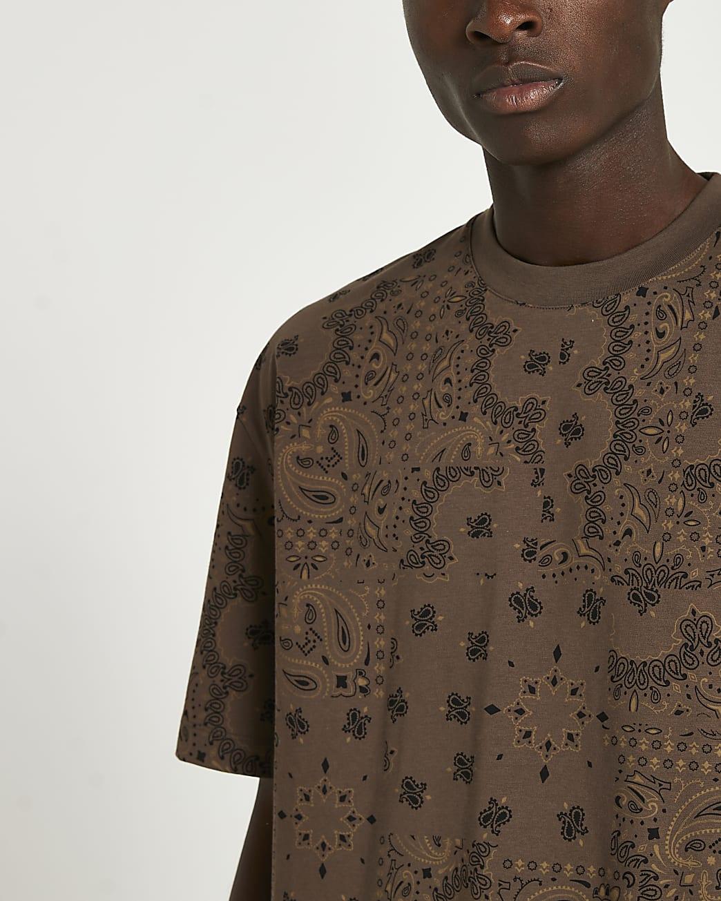 Brown print oversized t-shirt