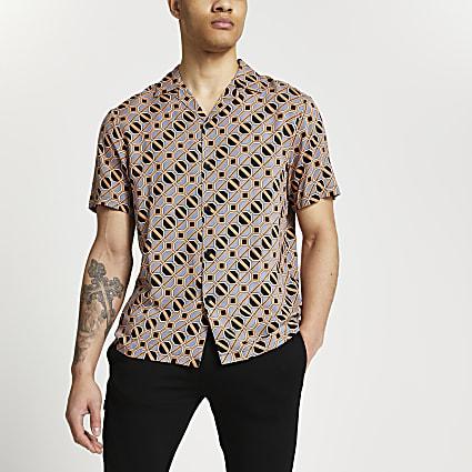 Brown print slim fit short sleeve shirt