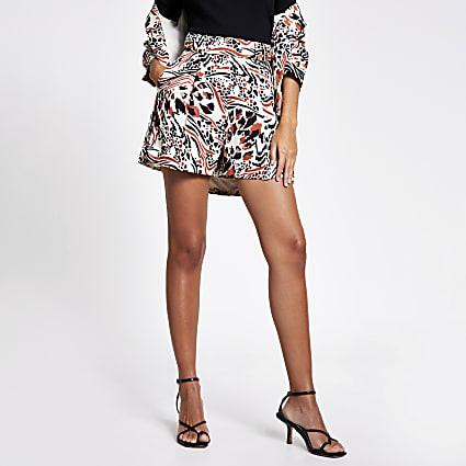 Brown printed buckle waist side shorts