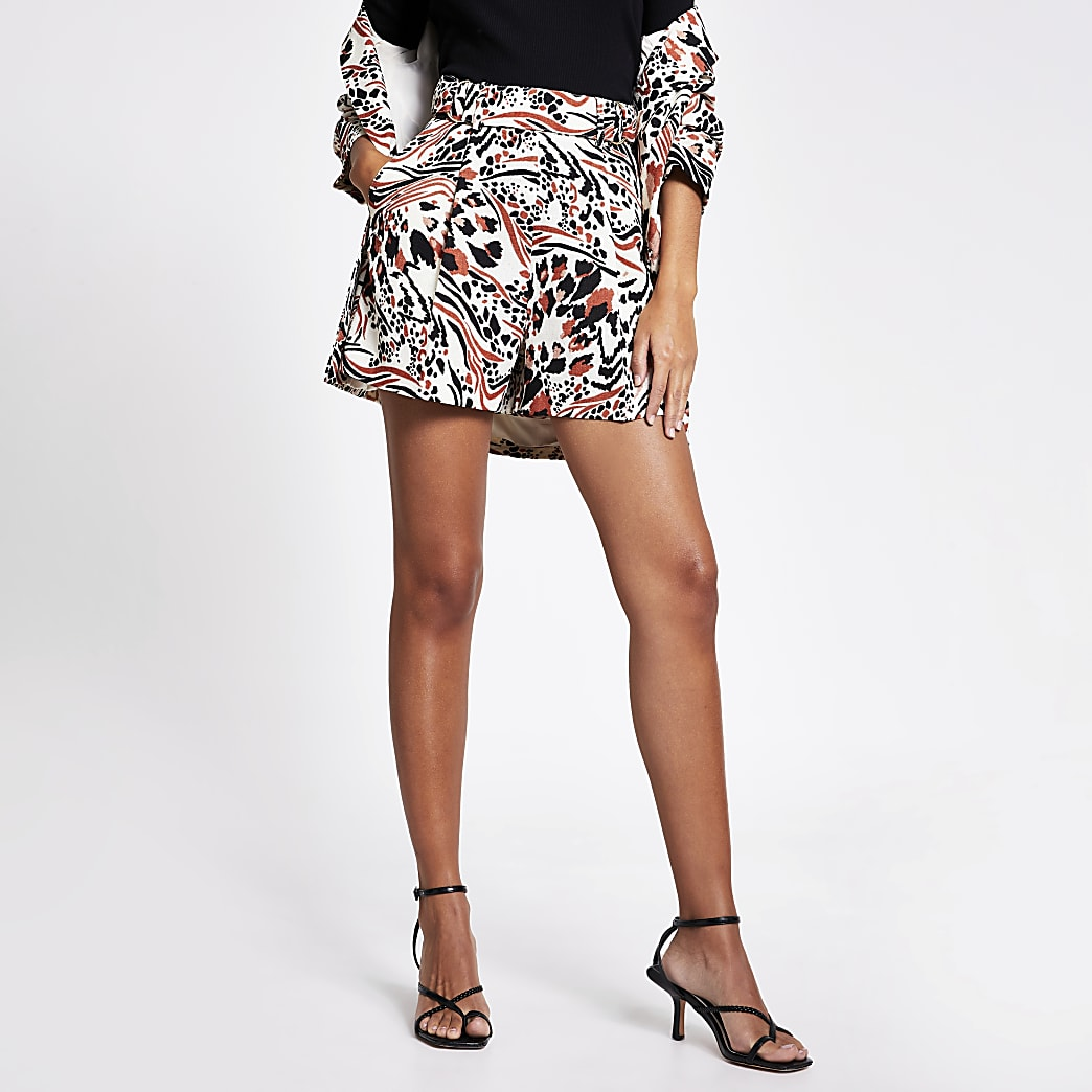 Brown printed buckle waist side shorts