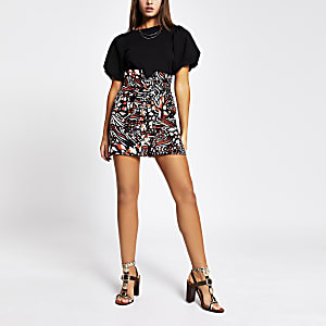 Brown printed button front belted mini skirt