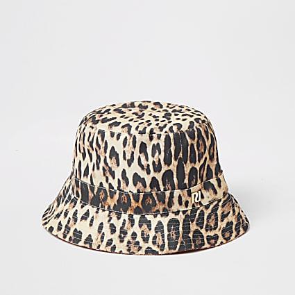 Brown printed reversible bucket hat
