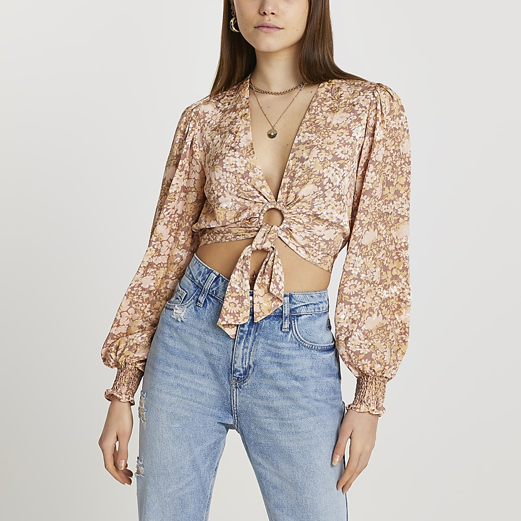 Brown printed ring front tie blouse top