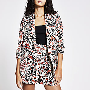 Brown printed ruched sleeve blazer