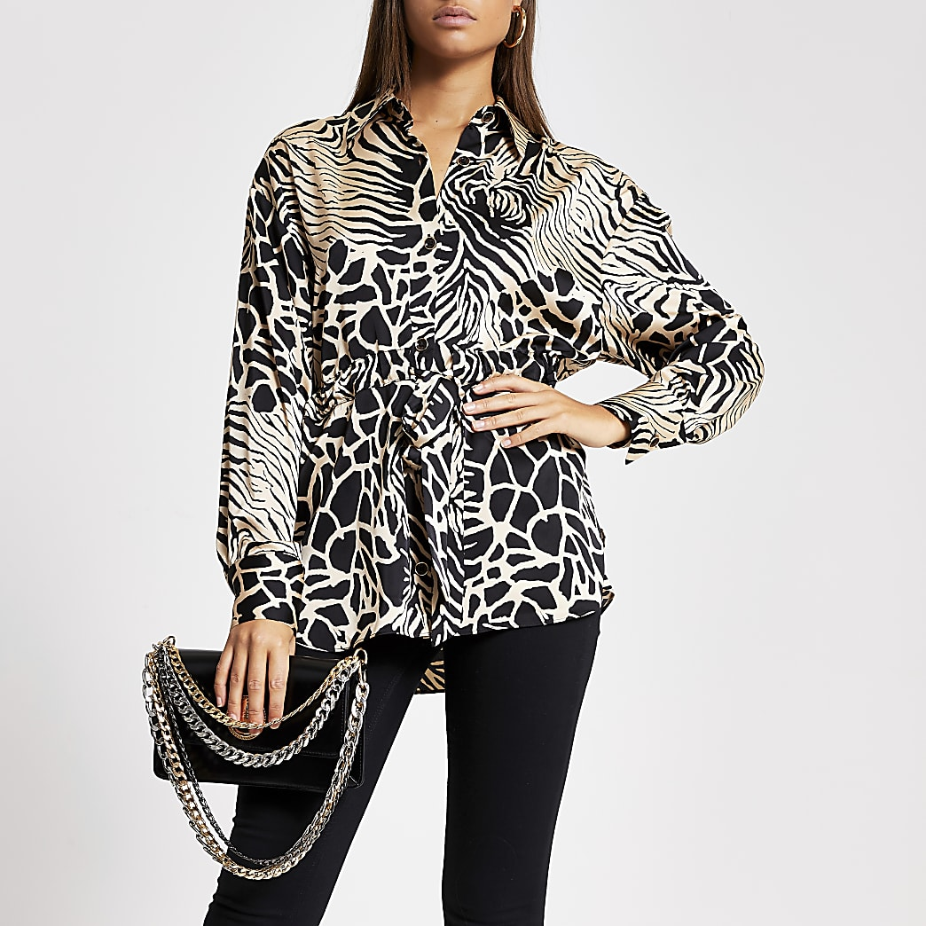 Brown printed tie waisted satin shirt