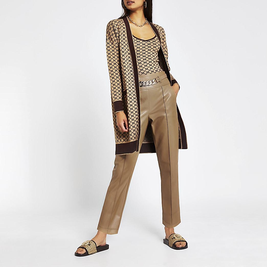 Brown PU cigarette chain belt trousers