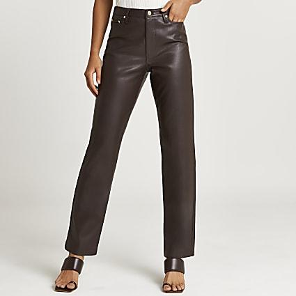 Brown PU straight leg trouser
