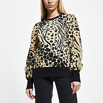 Brown puff sleeve animal print sweatshirt