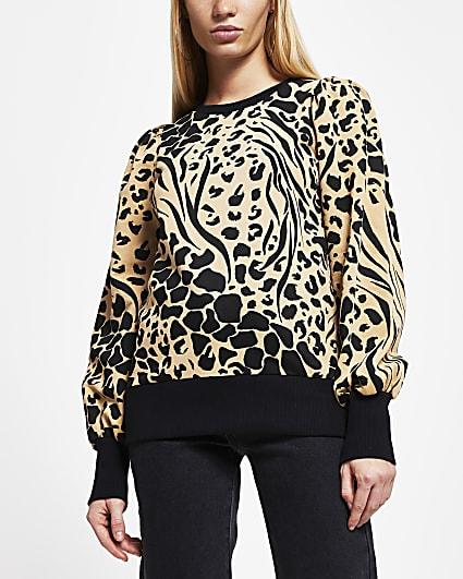 Brown puff sleeve animal print sweatshirt