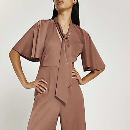 Brown pussybow flute sleeve wide leg jumpsuit