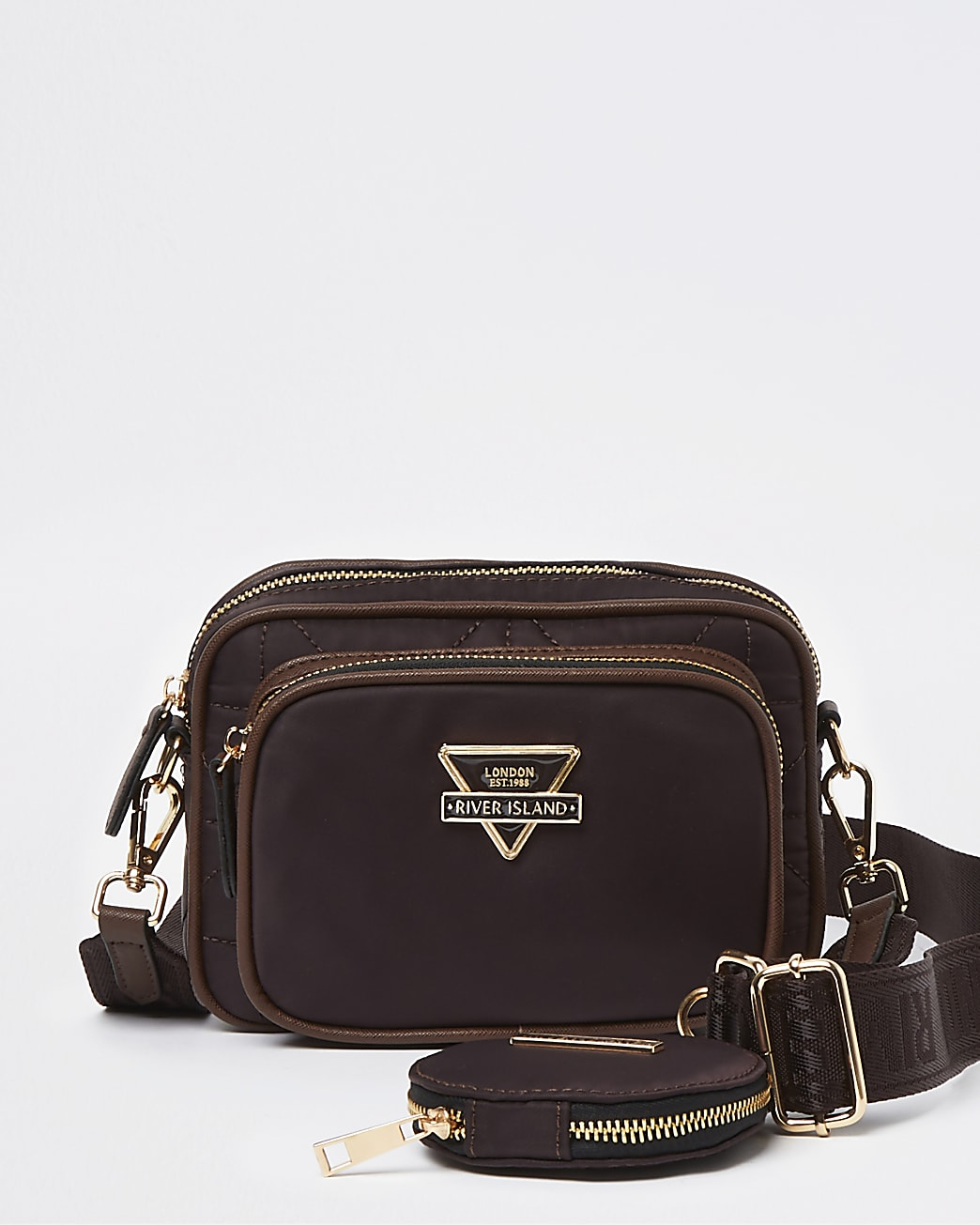 Brown quilted cross body bag