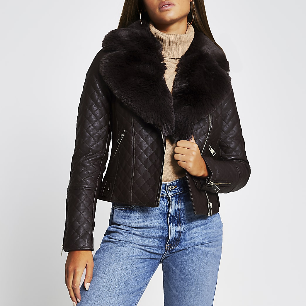 Brown quilted faux fur collar PU biker jacket