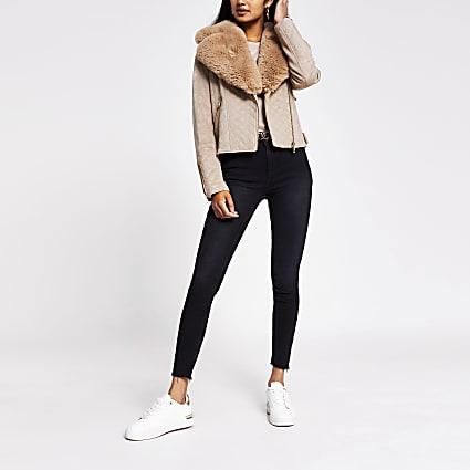 Brown quilted faux fur suede biker jacket