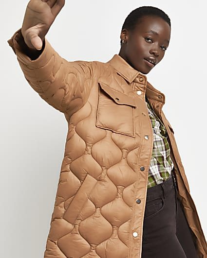 Brown quilted longline shacket