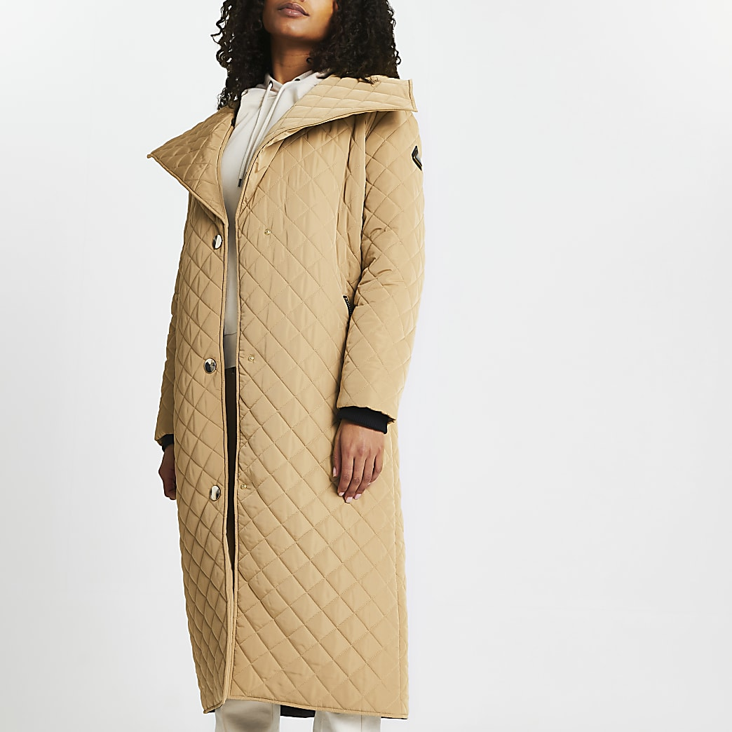 Brown quilted padded coat