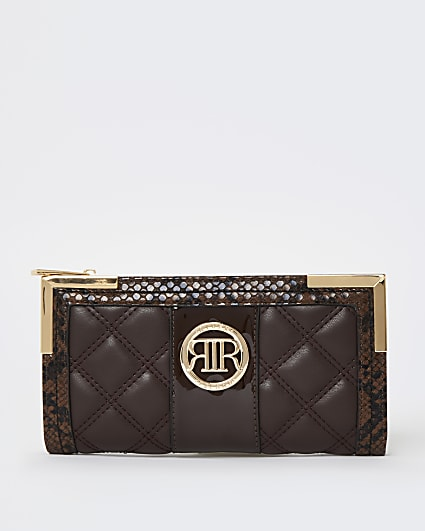 Brown quilted purse