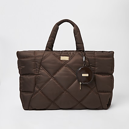 Brown quilted shopper bag
