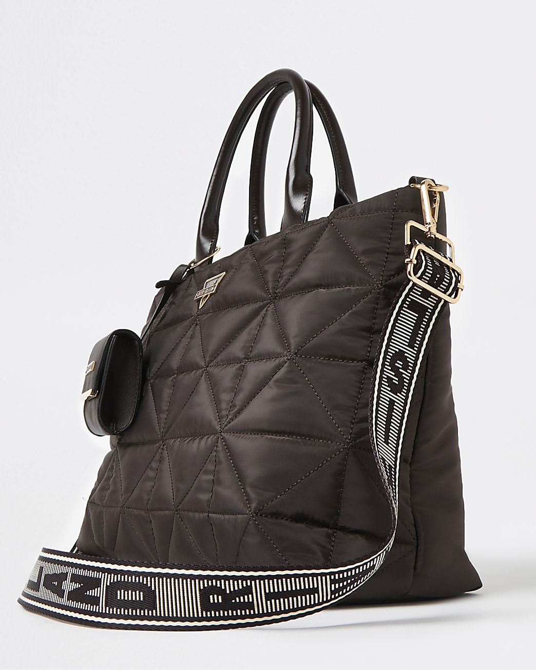 Brown quilted soft tote bag