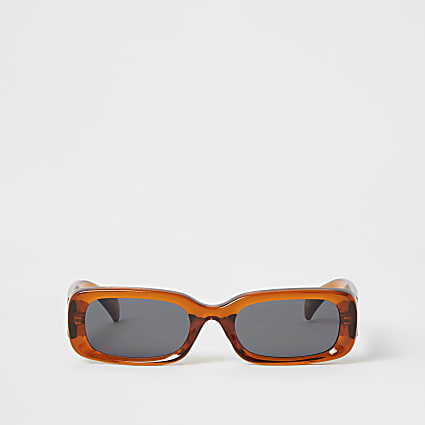 Brown rectangle shape sunglasses