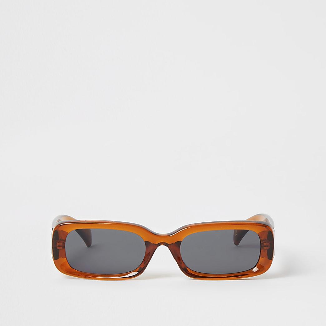 Brown rectangle shape sunglasses