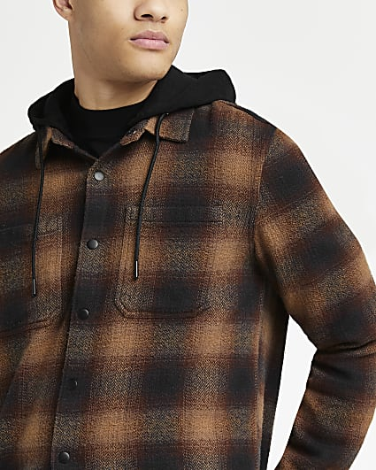 Brown regular fit check print hooded shacket