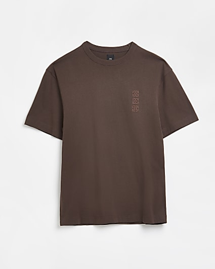 Brown regular fit embroidered t-shirt