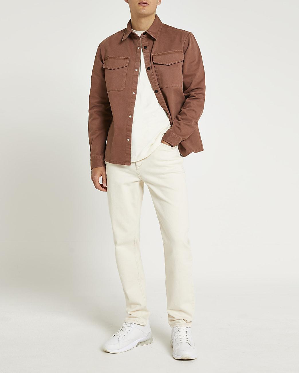 Brown regular fit long sleeve shacket