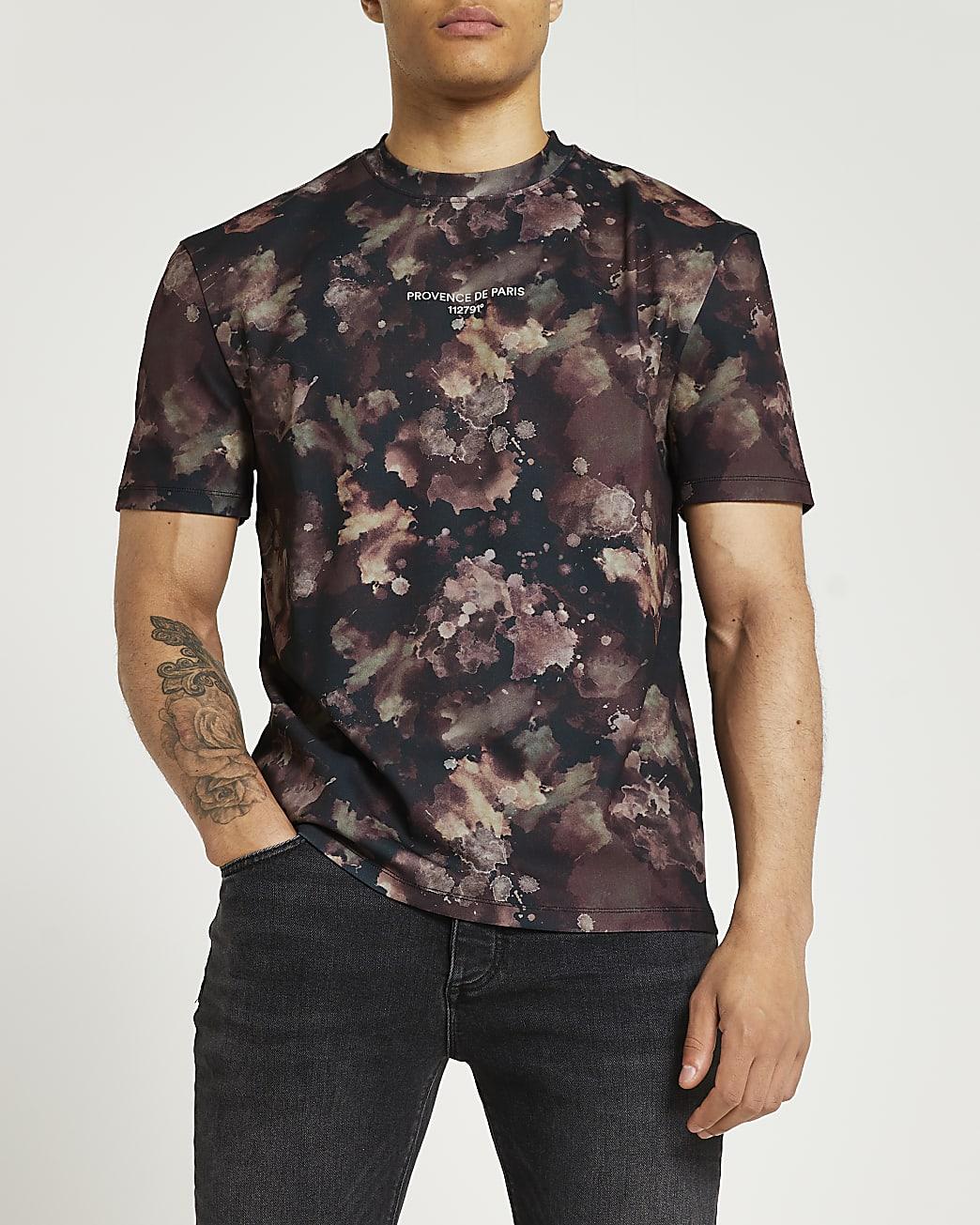 Brown regular fit water colour print t-shirt